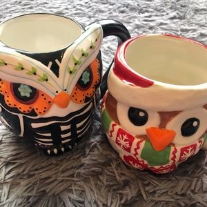 Christmas Halloween Set of 2 Owl Mugs